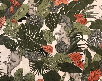 Kangaroos and Plants Vintage Cotton Quilting Fabric from the 1990's sold by the half yard