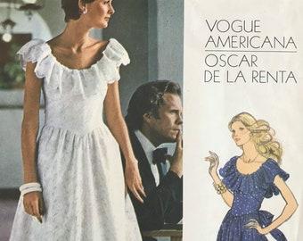 Ruffled Neckline Dress Sewing Pattern Designed by Oscar De La Renta for Vogue Americana