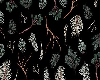Boughs & Branches from Winter Frost by Boccaccini Meadows for FIGO Fabrics / Winter Woodland Quilting Cotton with Branches printed on Black