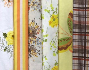 Autumn Fat Quarter Bundle made with vintage bed Sheets / Upcycled Seventies Sheets for sewing and quilting / 6 pack