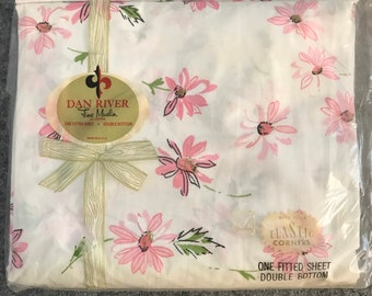 Pink Floral Vintage Fine Muslin Fitted Double Bed Sheet by Dan River in Original Packaging