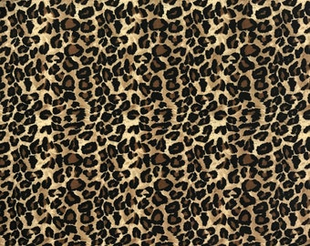 Leopard Print Cotton Fabric / Animal Print Quilting Cotton by the Half Yard