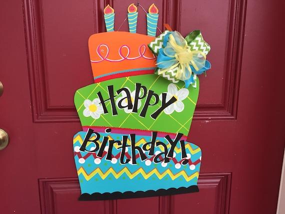 Excellent Happy Birthday Door Sign Birthday Cake Door Hanger Birthday Door Funny Birthday Cards Online Alyptdamsfinfo