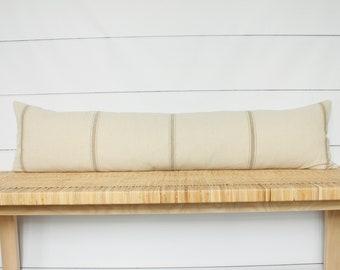 Vintage French Grain Sack Lumbar Pillow | 12x48 | No309