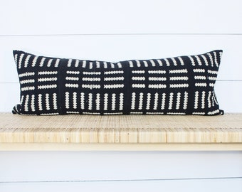 Mudcloth Pillow Cover | Authentic African Mud Cloth | Black and White | 14x36 | No94