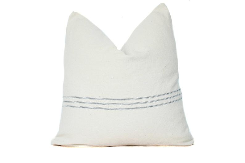 French Grain Sack Pillow Cover  Blue Stripe Lumbar Pillow  image 0