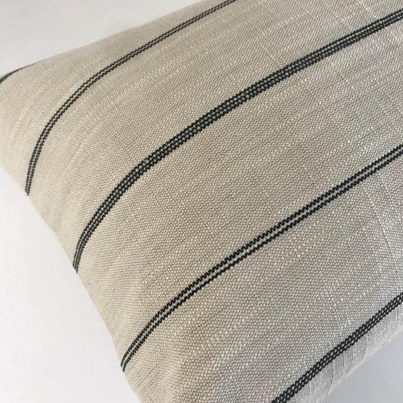 Cream and Black Farmhouse Stripe Pillow Cover Throw Pillows Pillow Covers No405xx