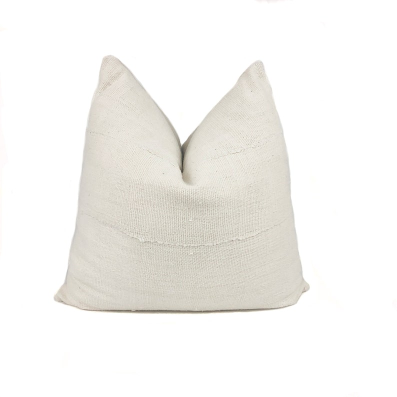 Mudcloth Pillow Cover  Cream  Authentic African Mudcloth image 0