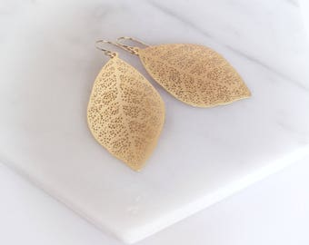 AUTUMN - Gold Leaf, Nature, Gold Filled Earwire, Dangle Earrings