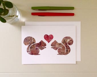 Squirrel Love Card: recycled art | vintage postage stamps | blank card | greeting card | note card | squirrels | I love you card