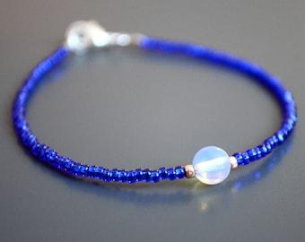 """Opalite & Blue Seed Bead Bracelet   Dainty Friendship Bracelet   Girlfriend Gift   Going Away Gift: """"Luminous"""" in Sapphire"""