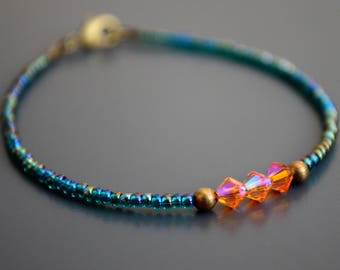 "Teal & Orange Swarovski Crystal Delicate Bracelet   Dainty Friendship Bracelet   Colorful Boho Bracelet: ""Crystalline Energy"""