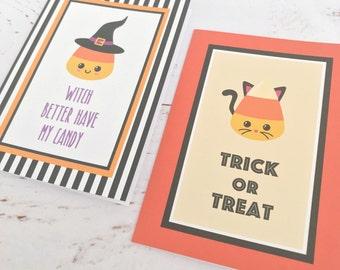 Halloween card - Candy Corn, Trick or treat, Cats, 4-bar Stationary set, Fall holidays, Blank greeting card, Kawaii, Cute cards