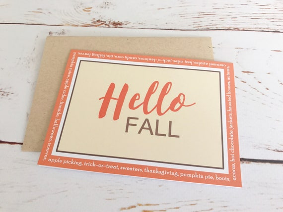 hello fall 4 bar blank notecards autumn colors fall themed etsy