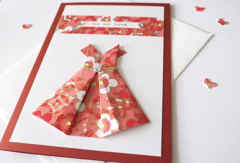 Encouragement Hand-typed Origami dress Birthday card A6 Handmade card Love card Japanese chiyogami Blank card You are Loved