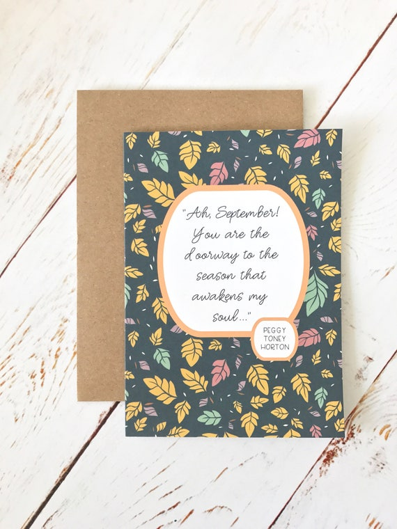 ahh september quote fall card a6 size blank greeting etsy