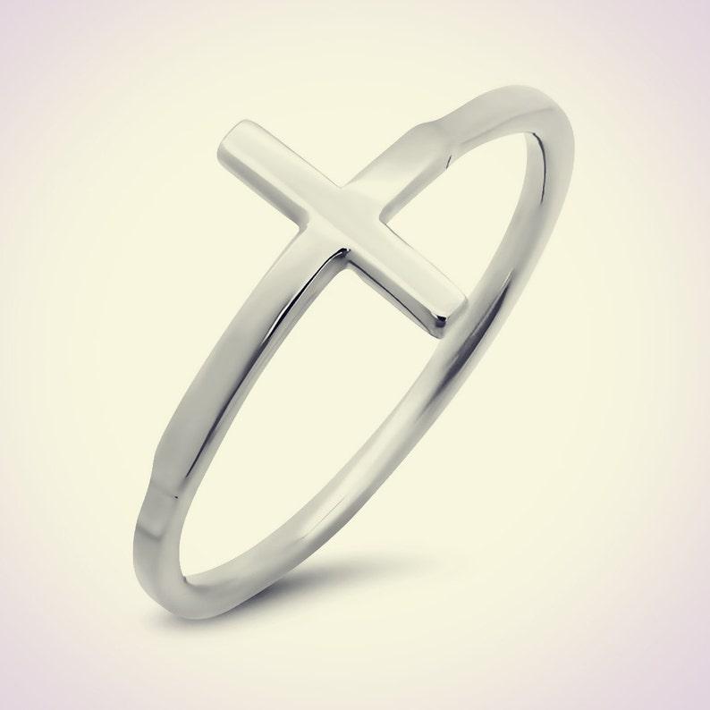 Sideways Cross 14K White Gold Sideways Cross Fashion Ring Cross Ring