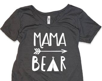09bb96fb551 MAMA BEAR Vneck shirt Great Gift for Mom gift for Expecting Mother Shirt -  Baby Shower Gift for Maternity Mama Bear shirt minimalist design