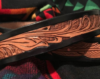 Hand Tooled Feather Belt