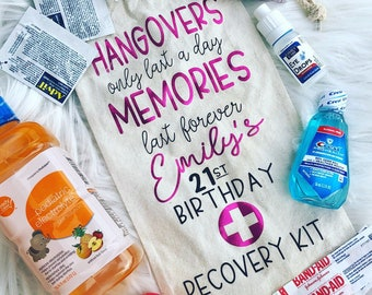 21st Birthday Hangover Kit Gift Funny Wine Tote