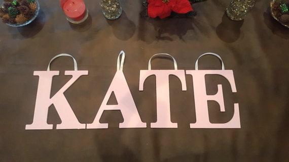 Pink Wood Letters, KATE, Hand Painted Letters, Kids Name Door Hanger Girl,  Nursery Wall Letters, Playroom Wall Letters, Kids Room Letters