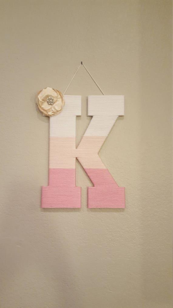 Nursery Letter K Pink Ombre Yarn Letter Gold Bow Kids Room Etsy