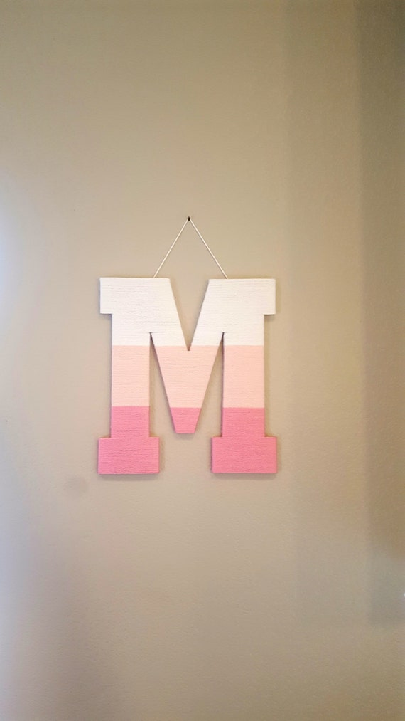 Yarn Letter, Nursery Letter M, Pink Ombre Yarn Letter, Kids Room Decor,  Playroom Wall Decor, Baby Name Letter, Girl Door Hanger, Wood Wall L