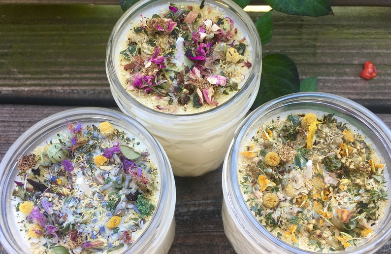 All Natural Aromatherapy Soy Wax Candle with Organic Herbs & image 0