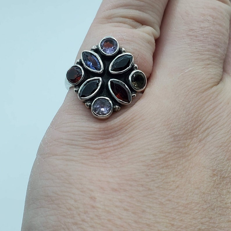 Size 5 14. Sterling Silver 925 Multi Gem Stone Multi Color Cocktail Ring