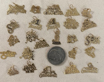 Vintage New Old Stock from the 1980-90s 14 Karat Gold Talking Charms Buy wholesale Stamped Charms Hand Antiqued 10th in thick 30 Gauge Sheet