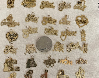 Vintage New Old Stock from the 1980-90s 14 Karat Gold 30 Talking Charms Stamped Charms Hand Antiqued 10th in thick 30 Gauge Sheet