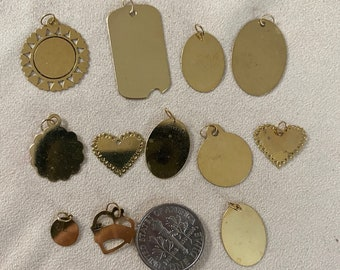 Vintage Engraveable Charms sold as a Lot 12 Pieces 14 karat all gold