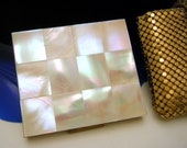 VintageVintage Whiting Davis Mother of Pearl Tile Compact with Rare Gold Tone Mesh Case is Signed inside for collectors