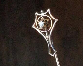 Vintage Art Deco Motif 0.03 Carat Diamond Sterling Silver Stick Pin, Hat Pin,  Or Scarf Pin