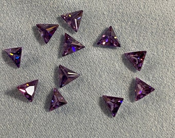 Special 5x5MM Perfect Color and Quality Amethyst Triangle Machine Cut Loose CZ Cubic Zirconia Gemstone Sold in packages of 4 pieces