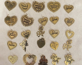 Vintage 25 Hearts of 14 Karat Gold, Hearts with Sayings for Sweet Heart, Friends, Maid of Honor, Precious, Sixteen, Special and lots more
