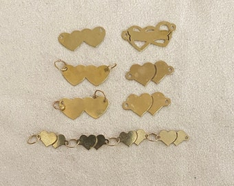 14 Karat Gold Hearts with side loops to make anklets or bracelets and more