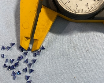 Special 3x3MM Perfect Color and Quality Blue Triangle Machine Cut Loose CZ Cubic Zirconia Gemstone Sold in packages of 4 pieces
