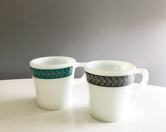 Pyrex Autumn Bands Gray and Turquoise mugs set of 2