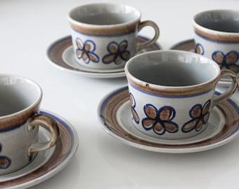 Mid-Century Modern Style Metlox Poppytrail Teacup Set of 4