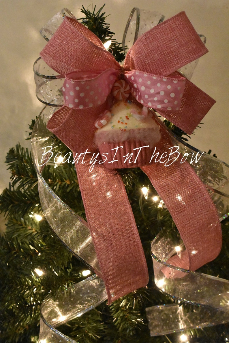 Pink Glitter Tree Topper Bow With Cupcake Ornamentunicorn Etsy