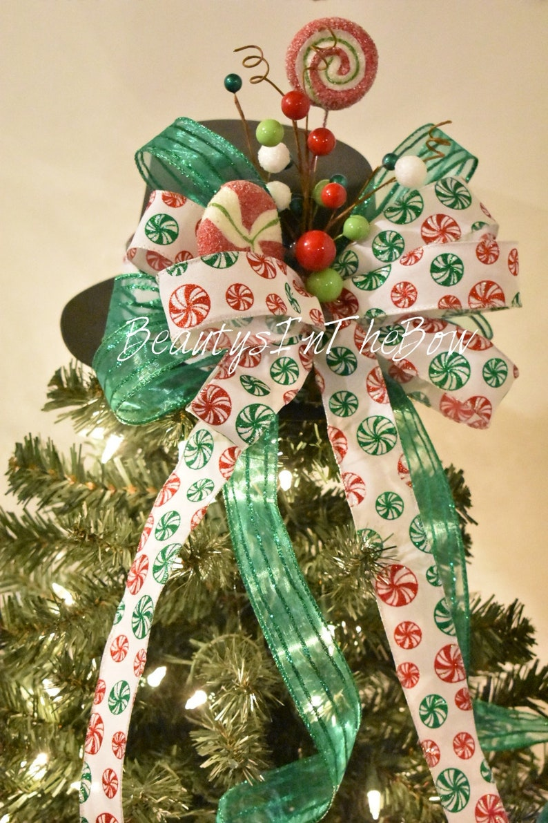 Candy Themed Christmas Decorations.Christmas Tree Topper Hat Peppermint Candy Themed Christmas Tree Topper With Bow Snowman Hat With Peppermint Swirl Candy