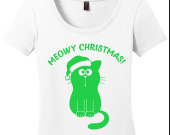 Meowy Christmas / Cat Christmas / Cat Lover / Gift for Cat Lover / I Love Cats / Gifts for Her / Meow / Christmas Cat Shirt
