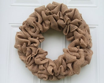 Plain Natural Burlap Rustic Wreath,  All Season Front Door Decor