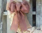 Gingham and faux burlap bow, Small Checkered Bow for Wreaths, Farmhouse Decor