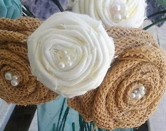 Burlap and Fabric Rosettes Various sizes- set of 10, Rustic Rosettes, Rustic/Shabby Chic/Country/Barn Wedding Decor, Fabric Flowers,