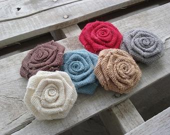 "Burlap Rosette Sets 2.5"", Choice of Various Colors Burlap Roses, Rustic Country Shabby Chic Wedding Decor, DIY Bulk Flowers"