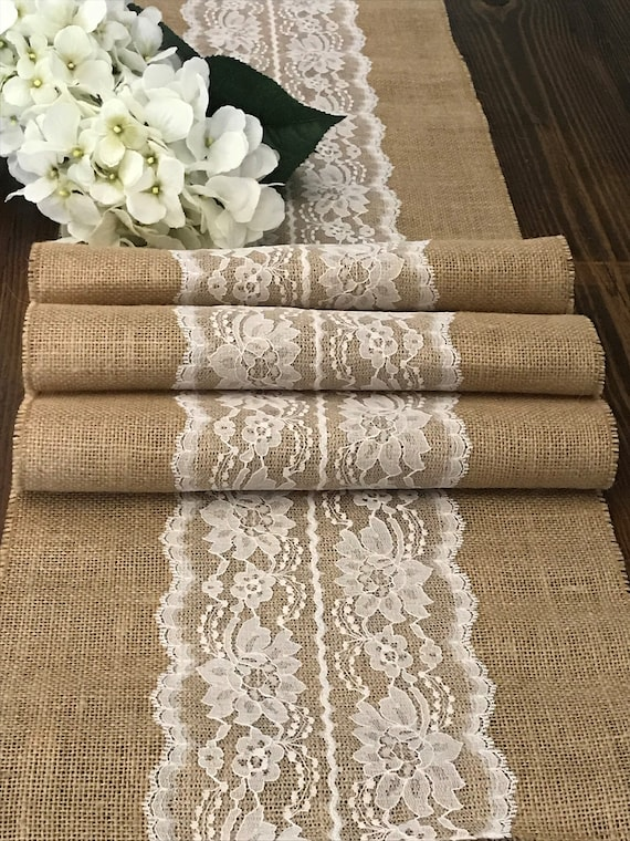 Burlap And Lace Table Runner Ivory Or White Lace Center Rustic Outdoor Country Barn Wedding Reception Table Farmhouse Table 12 Inch Wide