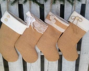 Single (1) Burlap Christmas Stocking, Rustic/Shabby Chic Stocking, Personalized Stocking, Unique Handmade Christmas Gift