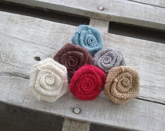"Set of Burlap Flowers 1.5"", Choice of Various Colors Burlap Rosettes, Rustic Country Wedding Flowers, DIY Bulk Flower Craft Projects"